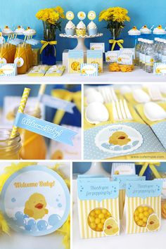 10 Perfect Themes for a Baby Shower – Voyage Afield Rubber Ducky Party, Rubber Ducky Birthday, Rubber Ducky Baby Shower, Baby Shower Duck, Baby Shower Yellow, Baby Shower Vintage, Baby Shower Decorations For Boys, Boy Baby Shower Themes, Baby Shower Printables