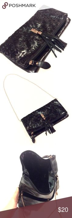 """JustFab Clutch Used once. Condition is like new! Black faux leather with gold hardware. Measurements: 11.5""""x5""""x6"""". Chain strap drop 21.5"""" and it is also removable. No trades or lowball offers please. JustFab Bags Clutches & Wristlets"""