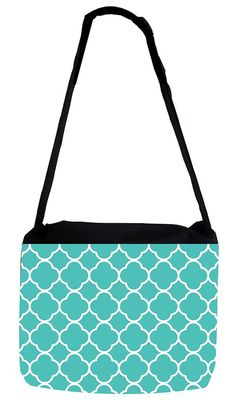 Rosie Parker Inc. TM Medium Sized Messenger Bag 11.75' x 15.5' and 5' x 8' Pencil Case SET - Robin Egg Blue Lattice Quatrefoil Pattern ** You can get more details by clicking on the image. (This is an Amazon Affiliate link and I receive a commission for the sales)