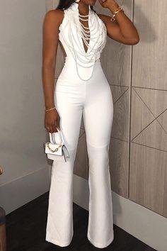 Date Night Plain Full Length Slim Women's Jumpsuit(Not Including Necklace)