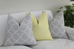 Fitzgerald Grey and Hanover Lemon Grass Pillows