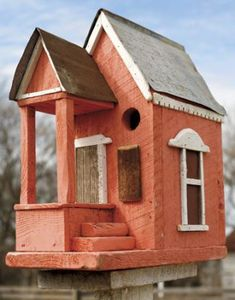 Red Birdhouse with Porchcountryliving