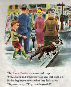 Charming Boston Terrier Childrens Art Vintage Art Print 1950'S | eBay