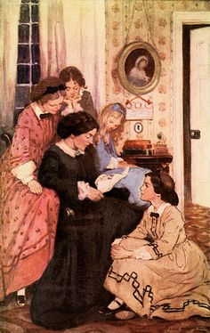 'They all drew to the fire'. Jessie Willcox Smith illustration from 'Little Women'.