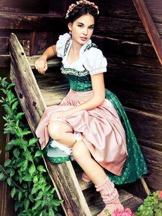 Green Silk Dirndl by Lena Hoschek model Theodora