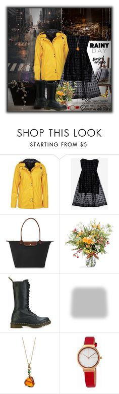 """Rainy New York Day"" by monika-jall ❤ liked on Polyvore featuring WALL, Barbour, Nicholas, Longchamp, Dr. Martens, Shabby Chic, Skagen and rainyday"