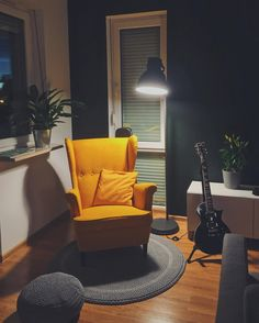 "49 Likes, 6 Comments - Anks (@matisnape) on Instagram: ""Reading corner upgrade :) #cozy #yellow #interior #strandmon #ikea #lazysunday #sundayevenings…"""