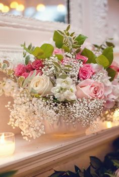 roses and baby's breath.