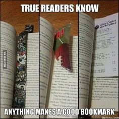 I bought a used book once that had a chip bag in it being used as a bookmark. The struggle is certainly real, but tbh that was gross!