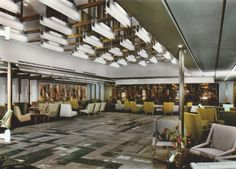 The restrained First Class Grand Salon (Lounge) of the France of the Compagnie Générale Transatlantique/The French Line. 1962. It was here, during a particularly turbulent 1974 West-bound crossing, one of the last the vessel would make, that an unsuspecting (and thus blameless) Joan Crawford taught me - by elegant example - how to smoke a cigarette. Image courtesy the private collection of John Cunard-Shutter.