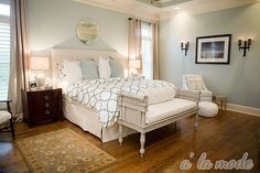I like this blue for the master bedroom walls