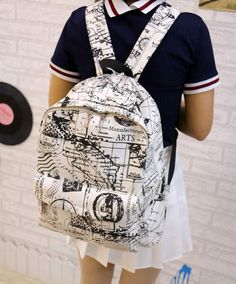 Fashion Canvas Graffiti Map Casual Backpack &Schoolbag for big sale ! Lace Backpack, Laptop Backpack, Backpack Bags, Canvas Backpack, High School Bags, Cute School Bags, Backpacks For Teens School, Backpack For Teens, College Backpacks