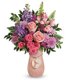 Make mom feel extra special with a bright pink bouquet arranged in this glorious hand-glazed ceramic vase, complete with artisanal, brush-stroked finish and charming hummingbird medallion. Rose And Lily Bouquet, Pink Bouquet, Wedding Bouquet, Flower Bouquets, Month Flowers, Mothers Day Flowers, Valentine Flowers, Fast Flowers, Beautiful Bouquet Of Flowers