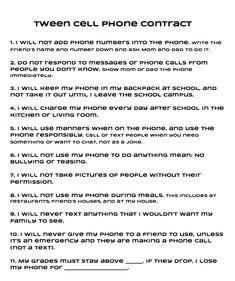 Tween Cell Phone Contract