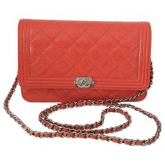 956afea85196 Orange Patent leather Handbag Boy Chanel Woc, Chanel Boy Bag, Patent Leather  Handbags,