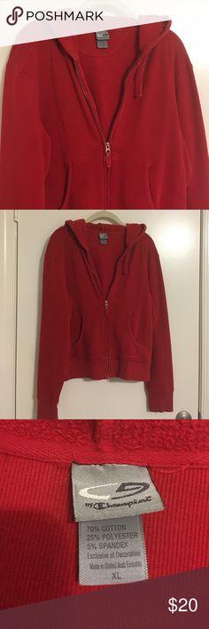 hooded zipper front sweatshirt👟SALE Red Champion hooded zipper front sweatshirt with front pockets Champion Tops Sweatshirts & Hoodies