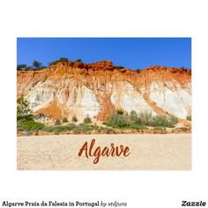 Shop Algarve Praia da Falesia in Portugal Postcard created by stdjura. Algarve, Cliff, Postcards, Portugal, Vintage World Maps, Rock, Beach, Places, Photography