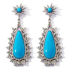 Rarities: Fine Jewelry with Carol Brodie Turquoise and White Zircon Sterling Silver Earrings at HSN.com.