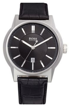 BOSS 'Architecture' Round Leather Strap Watch, 44mm available at #Nordstrom