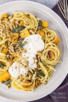 Butternut Squash Pasta with Ricotta & Sage Brown Butter from my girl Chey No Spoon Necessary
