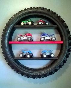tire display shelf, Creative Ways to Repurpose Old Tires, toy car storage, kids room decor