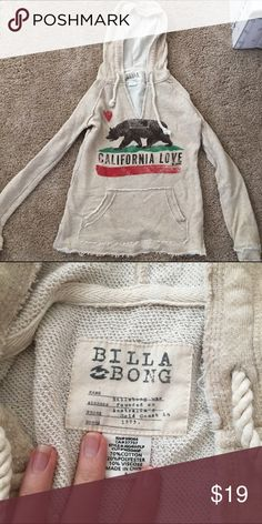 California billabong sweatshirt hoodie Great condition, nice and warm and fuzzy, light, cozy, great for quick throw on. Can do pay pal! Billabong Sweaters
