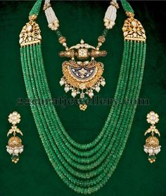 Jewellery Designs: Emerald Beads Long Set with Jhumkas