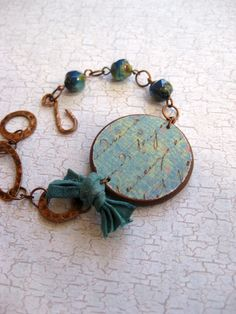 My Blue Heaven - Bracelet with vintage script on aqua background, blue Picasso beads, hammered copper and silk sari ribbon