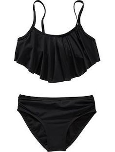 Girls Ruffle-Top Bikinis