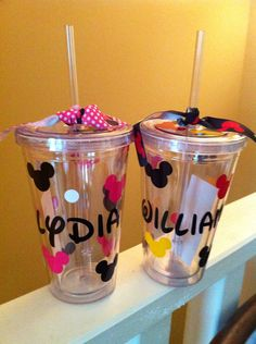 Disney Tumbler - tumbler from the dollar store and cut the vinyl on your cricut