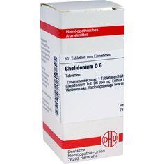 CHELIDONIUM D 6 Tabletten:   Packungsinhalt: 80 St Tabletten PZN: 02112430 Hersteller: DHU-Arzneimittel GmbH & Co. KG Preis: 5,64 EUR…