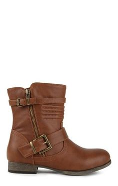Deb Shops Short Engineer Boot with Side Zipper and Buckles $40.00