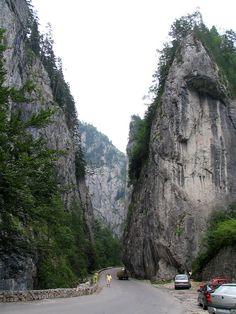The Bicaz Canyon (Romanian: Cheile Bicazului, Hungarian: Békás-szoros -- literally The Keys of Bicaz) is a canyon in Romania, located in the north-east part of the country, in Neamţ and Harghita counties. There's a winding road, beautiful views, a dam & a lake.