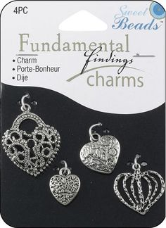 Shop   Category: Charms   Product: Fundamental Findings Charm Hearts Silver 4 piece