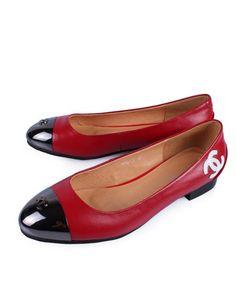 Chanel Flats Red Sheepskin White CC 82405