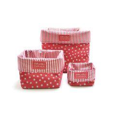 Strawberry colored storage box