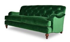Alfie tufted emerald green velvet sofa with tight back, walnut legs, and English roll-arm profile. Made in USA in hundreds of colors and sizes.