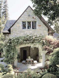 stone cottage and outdoor patio area Style Cottage, Cozy Cottage, Cottage Homes, Witch Cottage, French Cottage, French Country House, Outdoor Rooms, Outdoor Living, Cottages Anglais