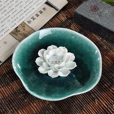 Free Shipping -- ASIH49 incense stick holder, 3 holes lotus flower white clay Ceramic Incense Plate and Holder for home decor
