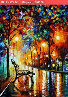 OIL ON CANVAS PAINTING DIRECTLY FROM FAMOUS ARTIST LEONID AFREMOV   Title: The Loneliness Of Autumn Size: 30 x 40 inches (75 cm x 100 cm) Condition: Excellent Brand new Gallery Estimated Value: $ 8,000 Type: Original Recreation Oil Painting on Canvas by Leonid Afremov  This is a recreation of a piece which was already sold.  Its not an identical copy , its a recreation of an old subject. This recreation will have texture unique just to this painting, a fingerprint that can never be…