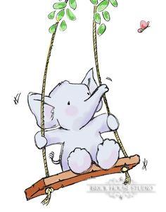 Nursery Room Art - Elephant on Swing, 8x10 Print. $12.00, via Etsy.