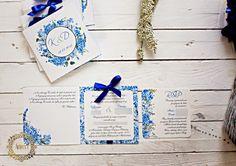 Artirea - zaproszenia ślubne, oryginalne, nietypowe, nowoczesne, dodatki ślubne: Niebieskie zaproszenia ślubne z motywem hortensji
