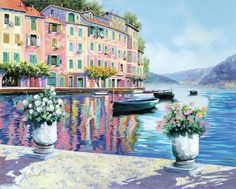 Portofino Painting - Portofino Rosa-azzurro by Guido Borelli All Wall, Dream Life, Landscape Paintings, Oil On Canvas, Instagram Images, Selection, Wall Art, Sketching, Artist