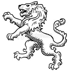 Lion rampant Lion Drawing, Side Tattoos, Human Art, Lion Tattoo, Coat Of Arms, Animal Drawings, Blackwork, Embroidery Patterns, Machine Embroidery