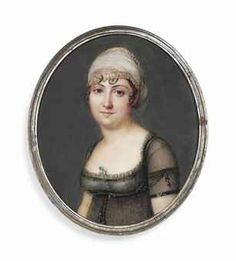 PIERRE CHASSELAT, A young lady, in décolleté black muslin dress over white underdress, a nosegay at corsage, gold-bordered white turban over her dark curling hair