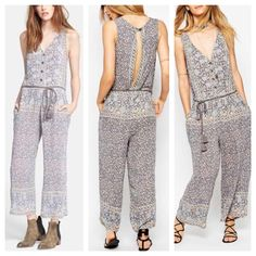 Free People Jumpsuit Sleek and sexy, wide leg jumpsuit with open back and pockets!!! Too cute and too comfy!!! Pet/smoke free home. Excellent condition -worn twice for a hot minute. Colors lend themselves to all seasons. Free People Other