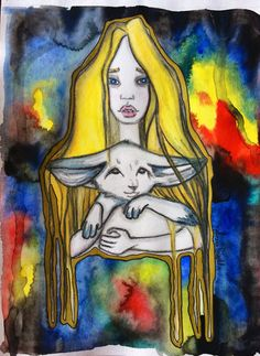 Lost in space  Watercolor, watercolor pencils, ink, gold felt pen, watercolor paper.  Size 210x297mm.   Original and artprints for sale. Write me anna.tsvell@gmail.com #art #artwork #watercolor #artist #illustration #illustrator #painting #picture #fox #girl #modernart
