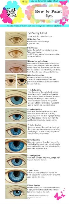 Do you want to learn how to paint eyes with acrylic paints? I made an infographic tutorial: How to Paint Eyes in 11 easy steps.  All the steps are detailed on katcanpaint.com