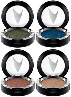 *MAC Star Trek Pressed Pigment Eye Shadow • The Naked Time (sparkling taupe pearl) • Bird of Prey (sparkling dark olive green) • To Boldly Go (sparkling reddish copper) • Midnight (sparkling midnight blue)
