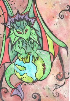 Earth Keeper Dragon Original Watercolor Painting Dragon Art Illustration Nursery Art Illustrations for Kids Art by Niina Niskanen Nursery Paintings, Nursery Art, Watercolor Illustration, Watercolor Paintings, Watercolor Paper, Original Artwork, Original Paintings, Dragon Art, Love Drawings